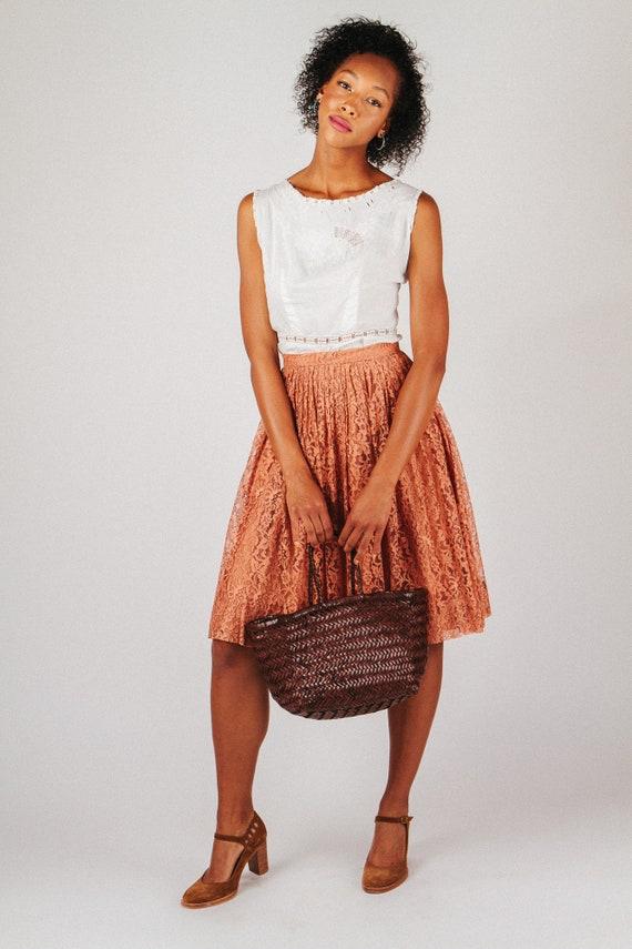 Vintage Rust Lace Midi Skirt XS