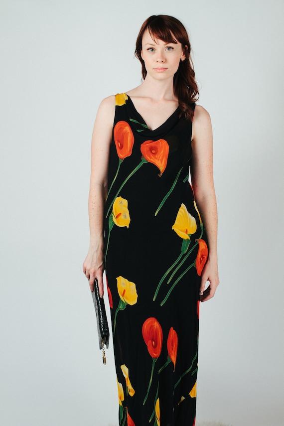 Vintage 90s Floral Rayon Maxi Dress M