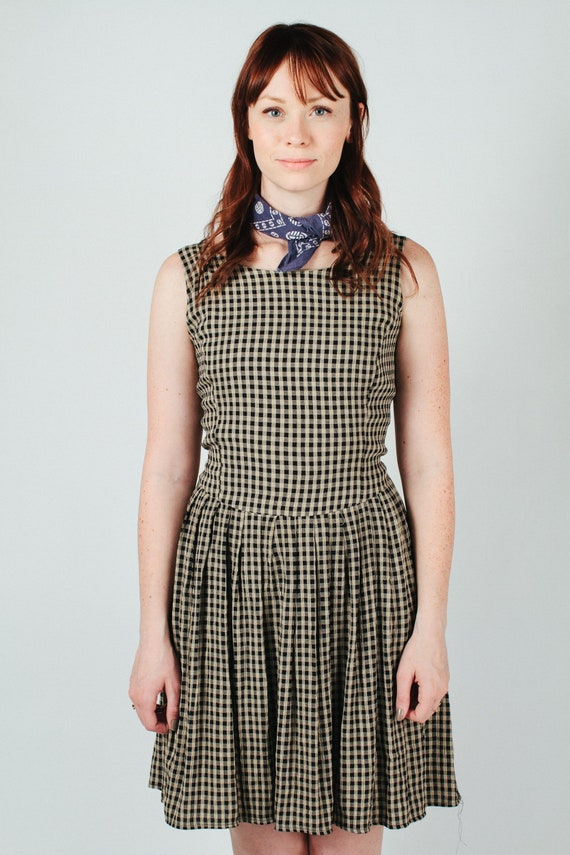 Vintage Black and Beige Plaid Dress with Back Tie