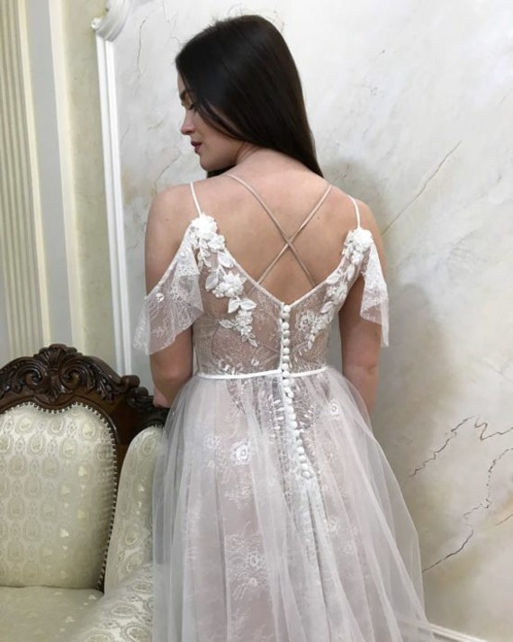 Bohemian Wedding Dress Boho Vintage Wedding Dress Boho Chic Etsy