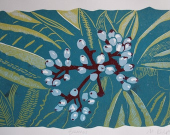 Berries linoprint, reduction linocut, berries, nature, print, limited edition, artwork