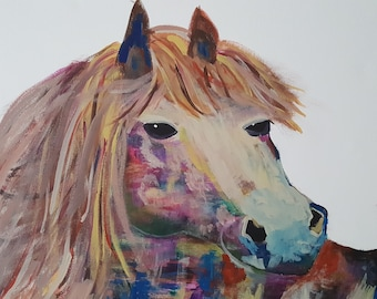 11 x 14 Colorful Horse Print