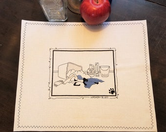 "Vintage Calico Cross Stitch Placemat; ""Washory Blues"", 12x18"""