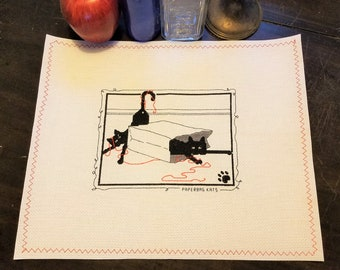 "SOLD (Vintage Calico Cross Stitch Placemat; ""Paperbag Cats"", 12x18"")"