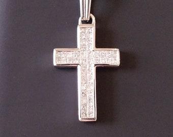 Sparkling 18k White Gold Cross