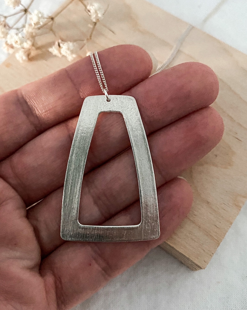 925 made from metal clay 960 sterling silver necklace GEOMETRIC COLLECTION- Long trapeze pendant brushed finish rounded corners