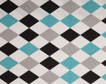 Solid furnishing fabric of Swafing retro grey white black turquoise triangles