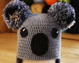koala baby soft hat, funny gray koala hat, crocheted koala, baby crochet hat