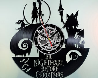 nightmare before christmas vinyl clock vinyl record wall art handmade decor best original vintage gift for fans decoration jack and sally - Jack Skellington Christmas Decorations