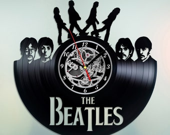 The Beatles Fab Four vinyl clock handmade home bedroom living kids room nursery wall decor gifts idea for birthday men women