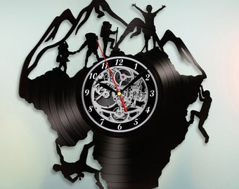 Climber gift, Vinyl record wall clock, Climbing rope, Mountain climbing art, Mountain wall art, Mountain decor, Gift for climber, Gift idea