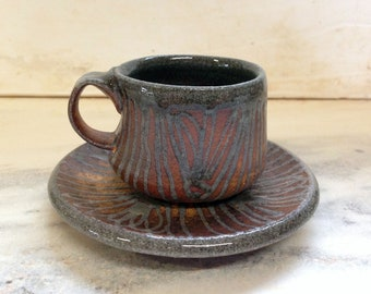 Woodfired Blue Glaze Trailed Small Teacup and Saucer