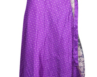 d36bc43a5fd47 Bohemian Womens Reversible Long Wrap Skirt Purple 2 Layer Sari Magic Wrap  Around Skirt One Size
