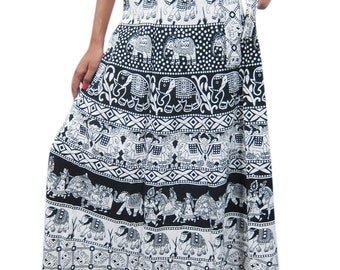 73828176ab Womens Cotton Wrap Skirt Animals Print Beach Bikini Cover Up Resort Wear  Sarong Summer Fashion Ethnic Wrap Around Skirts