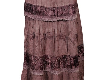 047f81fd2 Womens Tiered Skirt Velvet Touch Rayon A-LINE Boho Chic Hippy Gypsy  Medieval Vintage Long Skirts M