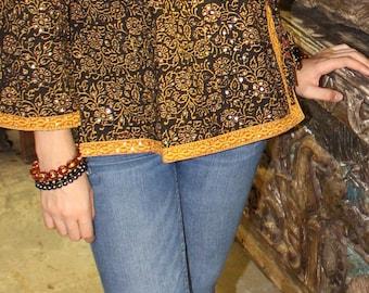 06d763db3c0 Bohemian Boho Chic Women's Beautiful Cotton Blouse Top Sequin Work Printed  Ethnic Tunic M