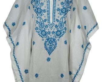Tie Dye White Blue Caftan Tunic Cover Up Resort Wear Tunic Dress One size M-2X Womens Caftan Dress Knee Length Short Kaftan Dresses