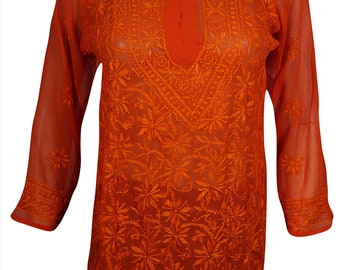 Bright Red Beautiful Floral Embroidered Long Sleeves Georgette Ethnic Cover Up Tunic Blouse For Womens