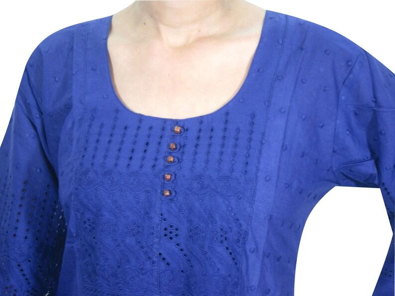boho Gypsy Chic Womens Blue Kurti Designer Embroidered Long Sleeves Indian Tunic Dress M