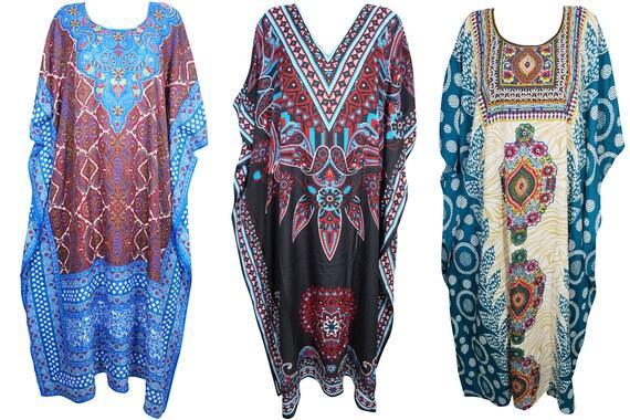 1808262787 Womens 3pc Maxi Caftan Printed Beach Cover Up Resort Wear
