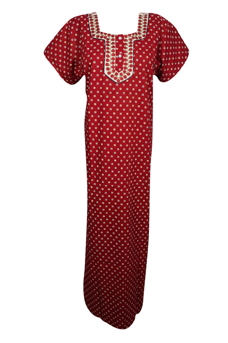 Womens Red Caftan Nightgown Embroidered Night Dress Kaftan  5f458c9ea