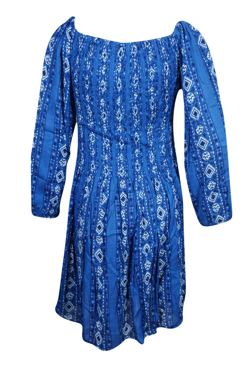 Bohemian Dresses Gypsy Chic Blue Printed Fit Flare 34 Sleeve Fitted Summer Beach Festivals SunDress ML
