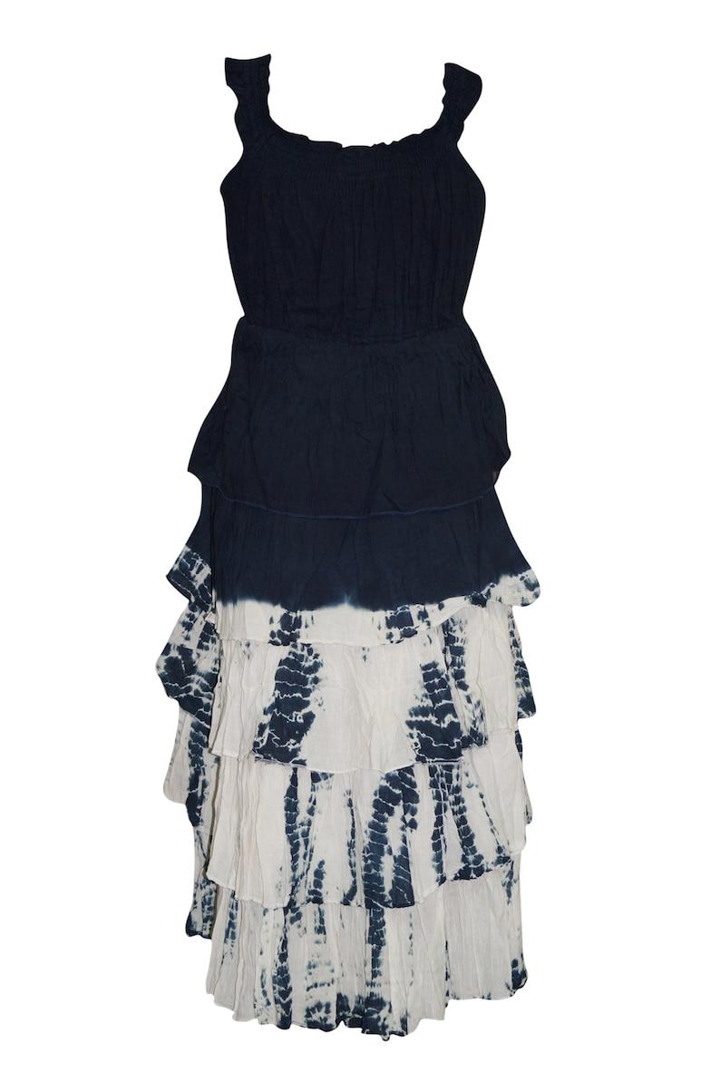 Womens Black Midi Dress Tie Dye Ruffle Strappy Layered Sleeveless Boho Dresses M