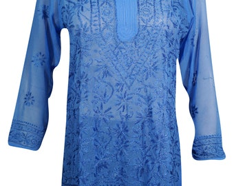 INDIAN Ethnic Georgette Tunic Blue Floral Embroidered Summer Fashion Beach Cover Blouse Top S