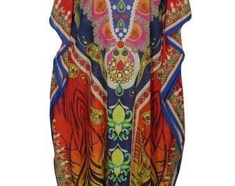 Women's Printed Georgette Caftan Colorful Kimono RESORT WEAR Maxi  Beach Cover up Kaftan Dresses One Size