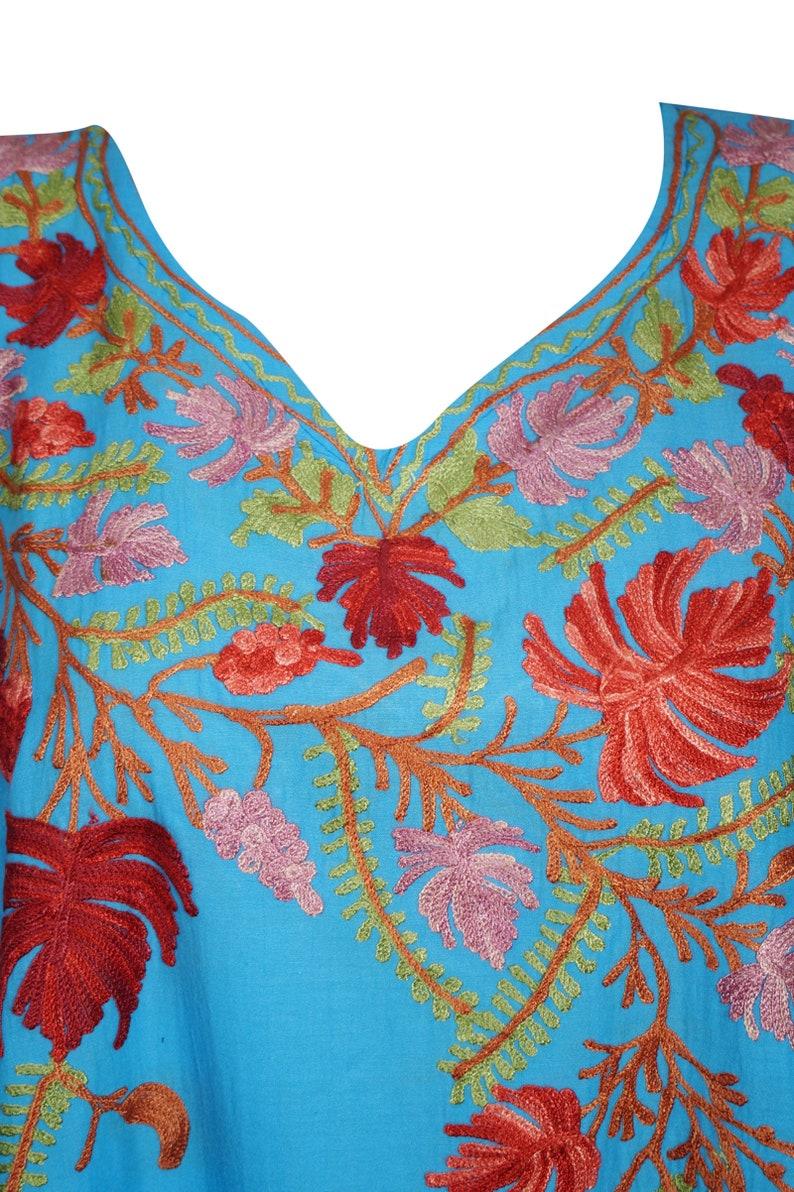 Bohemian Women Beach Kaftan Blue Floral Kimono Dress Lounger Swimwear Cover Up Tunic One Size