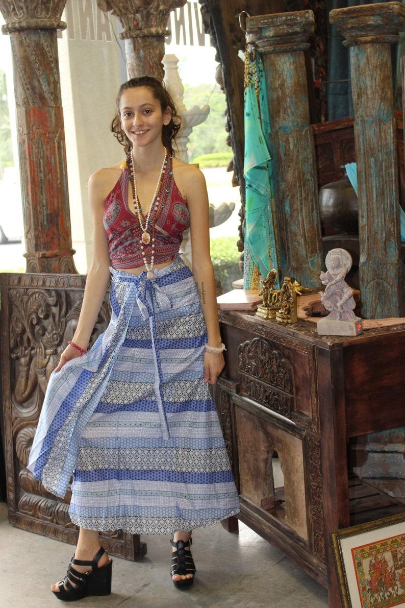 defea7f69b2 Boho Beach Babe Maui Aloha Maxi Skirt Blue Purple Magic Wrap