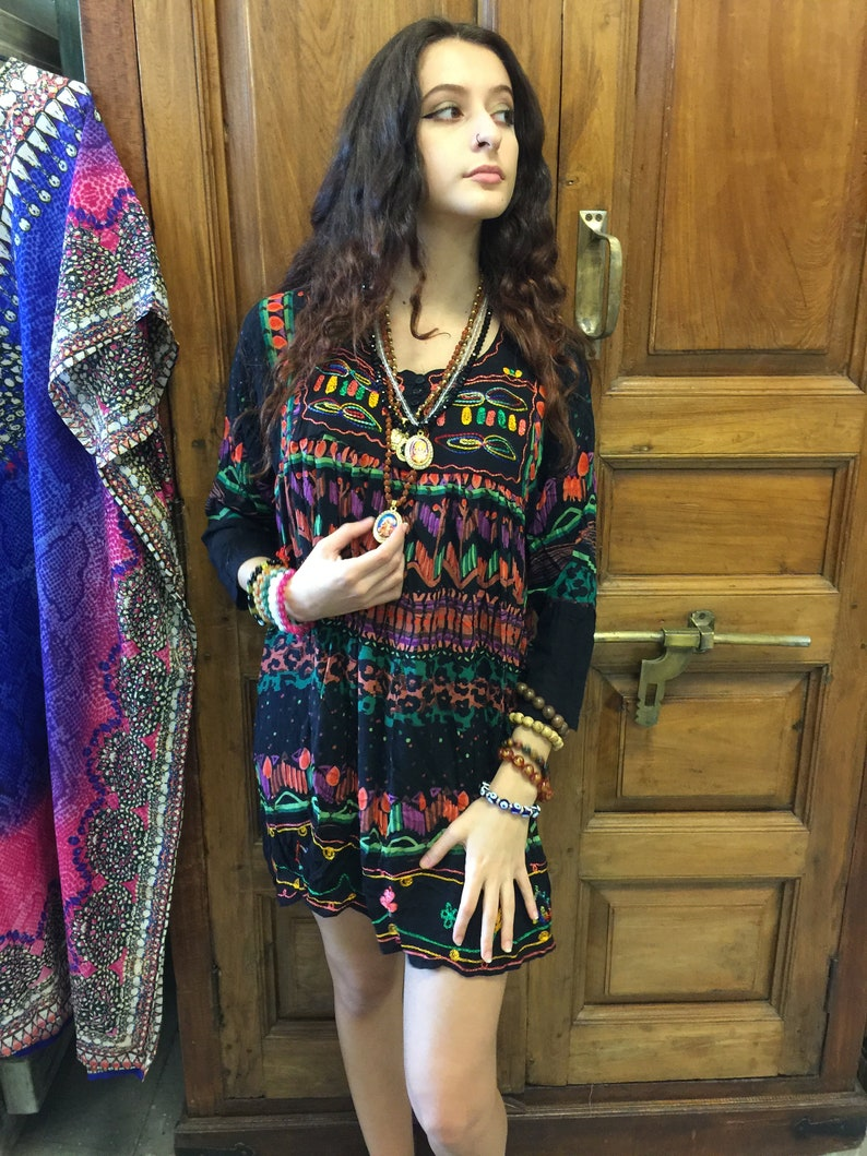 Womens DResses bLACK cOLORFUL Printed Embroidered loose dresses SML