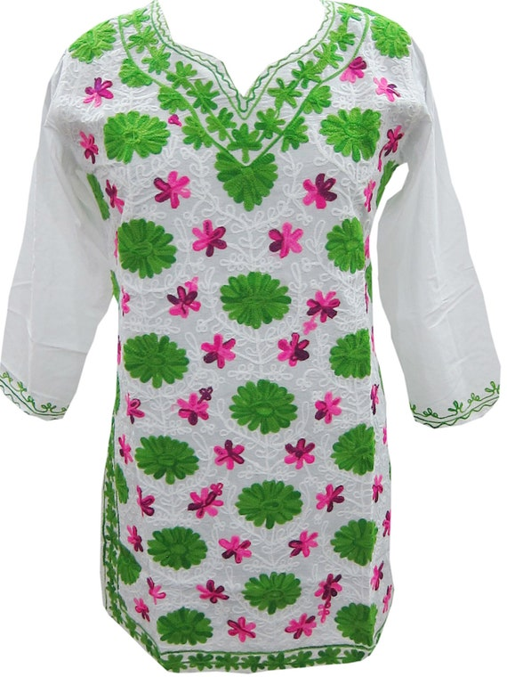White Floral Embroidered Tunic Dress Cotton Indian Style