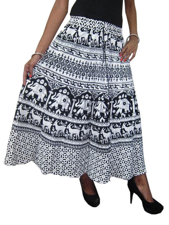 SMALL POL Clothing Women's Maxi Skirt Long A-Line Crochet Lace Stonewash