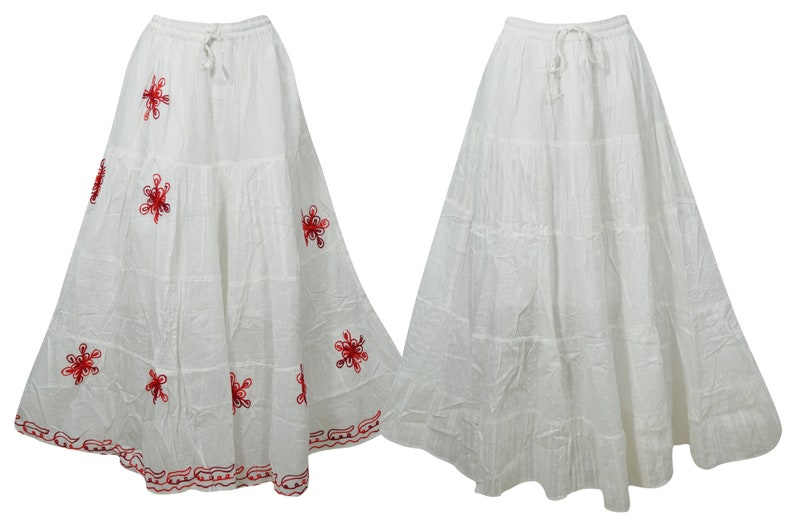 506de380033f6 2pc Women's Maxi Skirt White Cotton Gauze Embroidered | Etsy