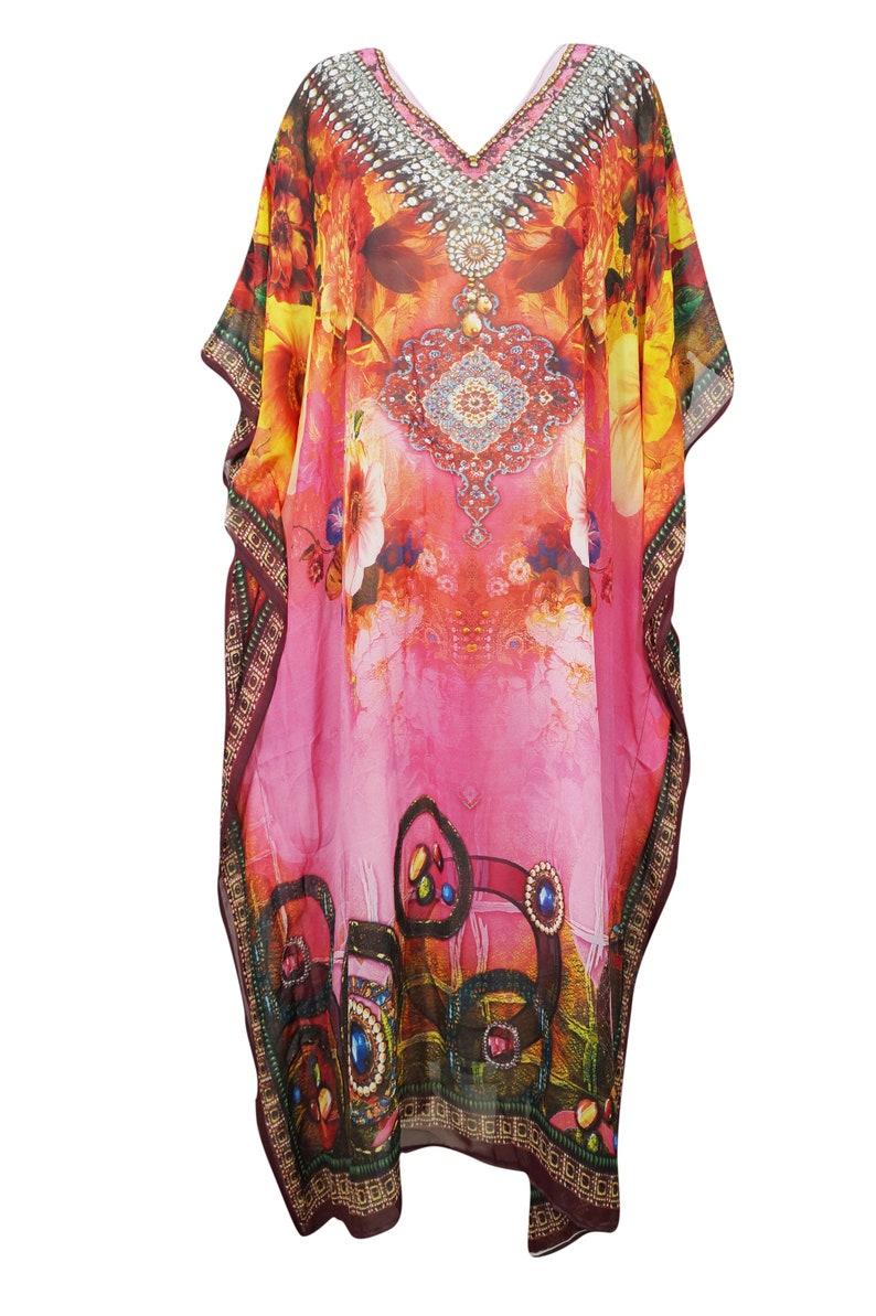 2802462545 Soft Boho Maxi Caftan Dresses V Neck Kimono Jewelled Beautiful | Etsy