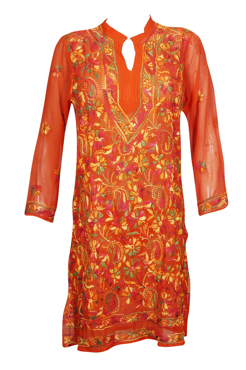 a92a7b1630c BOHO HIPPY Gypsy Red Long Tunic SHIRT Dress Floral Embroidered