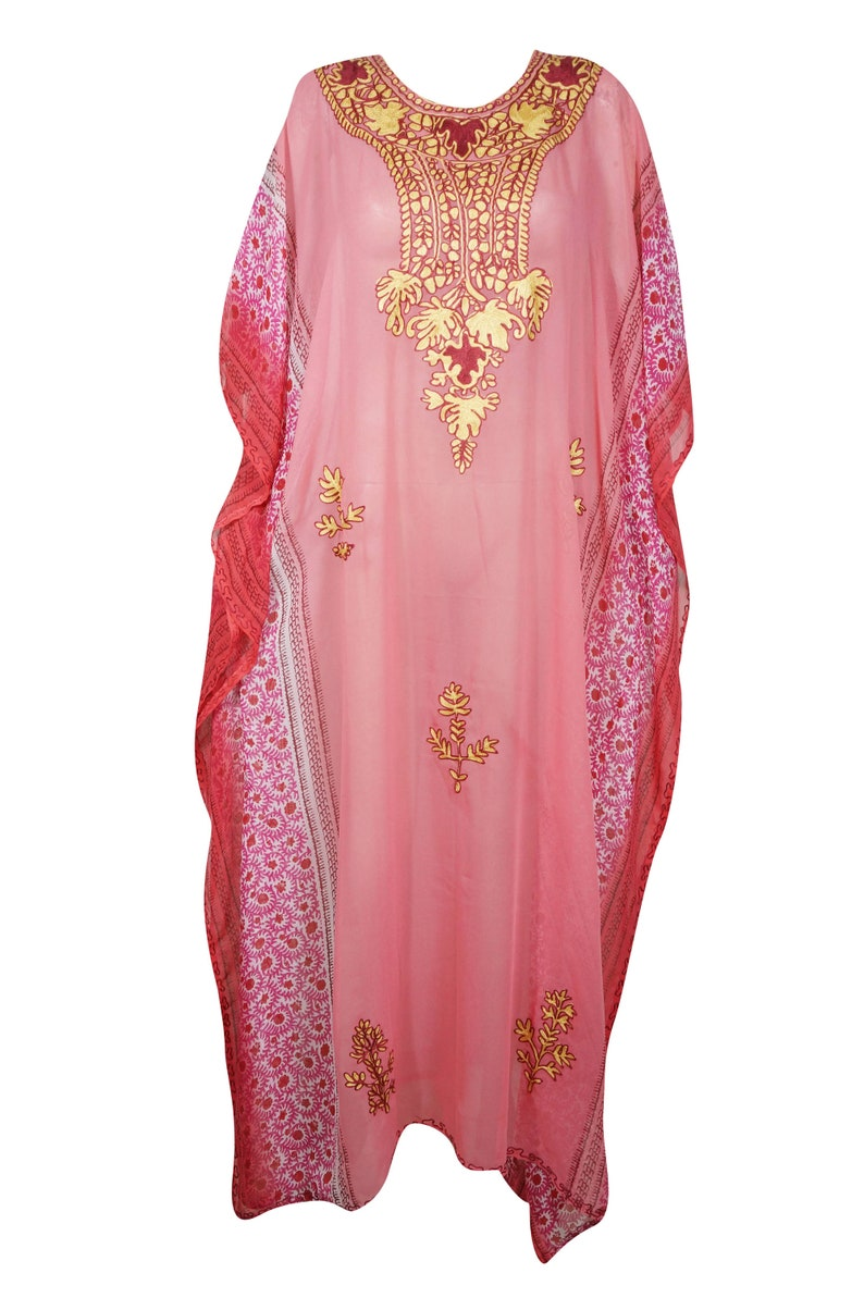 Holiday evening dress 4X boho maxi dress Peach Red Floral Embroidered Printed kaftan Dress Kaftan Dress Womens Caftan Maxi Dress