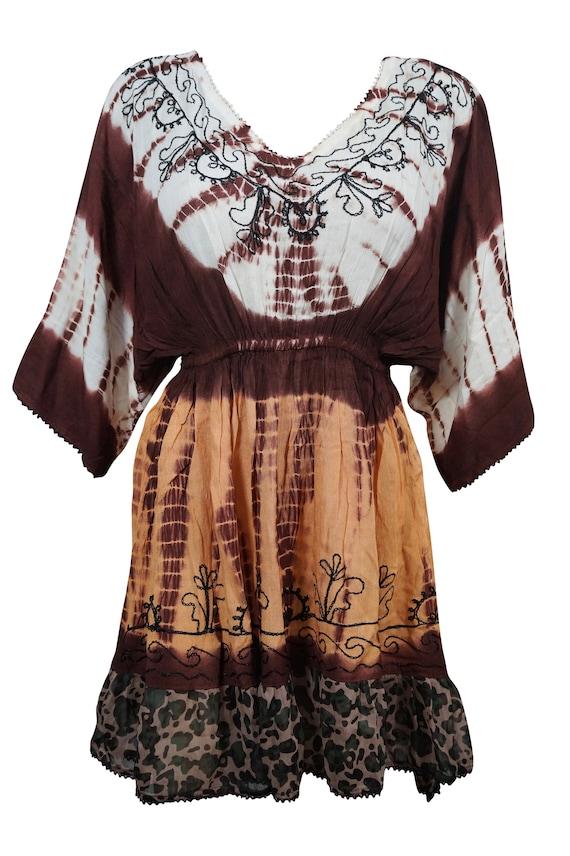 Just Love Women Plus One Free Size Red Sequin Tie Dye Caftan Dress Gypsy Tunic
