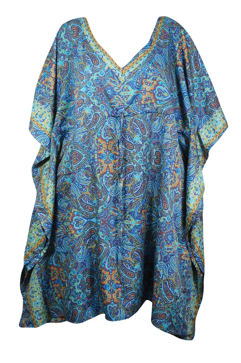 Maternity Dresses Caftan Dress Caftan Dresses L-3XL One Size PURE Silk Beach Cover Up Women Silk Kaftan Blue Floral Resort Wear
