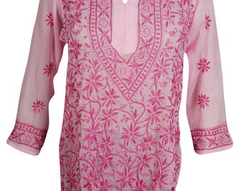 Pink Beautiful Tunic Floral Hand Embroidered Long Sleeves Georgette Ethnic Wear Cover Up Summer Blouse Top M