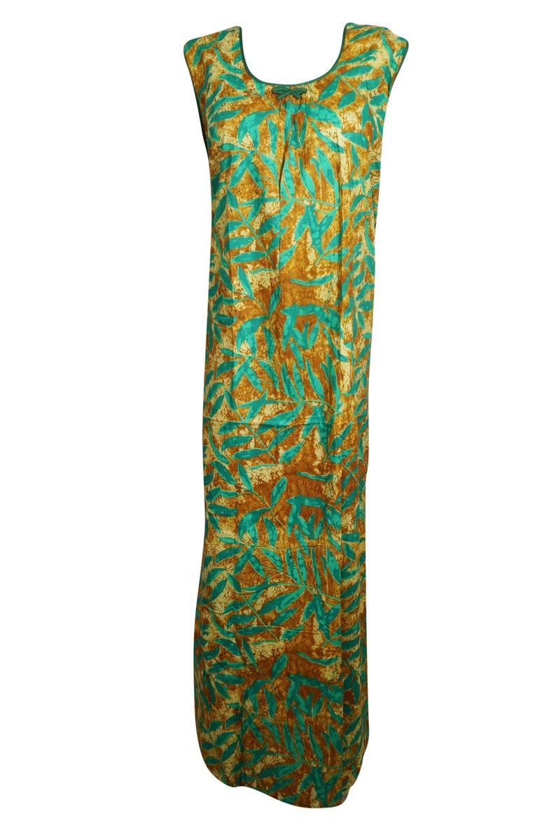 Boho Loose Nightgown Womens Maternity Dress printed handmade Indian cotton kaftan Sea Green Sleepwear Housedress L Maxi Caftan Dress