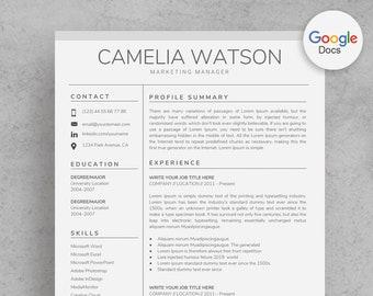 Resume Template Google Docs Etsy - Google docs cv