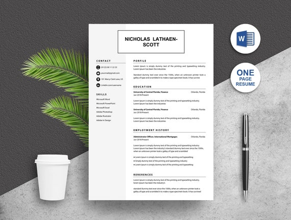 resume template instant download one page word docs resume etsy