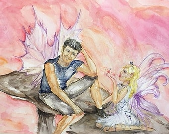 Dusk and Twilight,  Original Fairy Watercolor, matted
