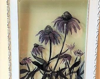 Purple Cone Flower,  Acrylic painting on double-pane glass art