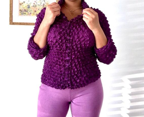 2000's Purple Popcorn Button Up Shirt/Blouse