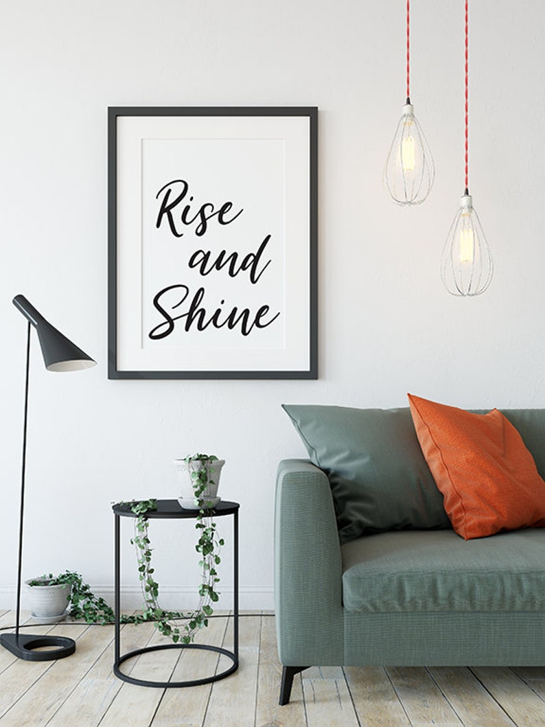 Rise and shine printable wall art instant digital download home decor wall art print motivational quote printable pink diamonds design co