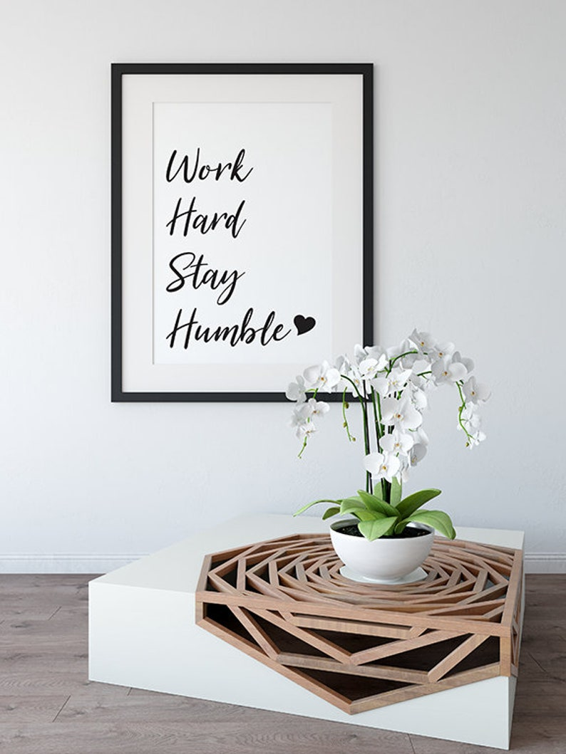 Work hard stay humble printable wall art instant digital download home decor wall print motivational quote pink diamonds design co