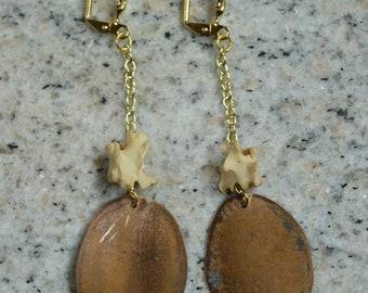 rattlesnake vertebrae train flattened penny gold chain lever back nickle free earrings
